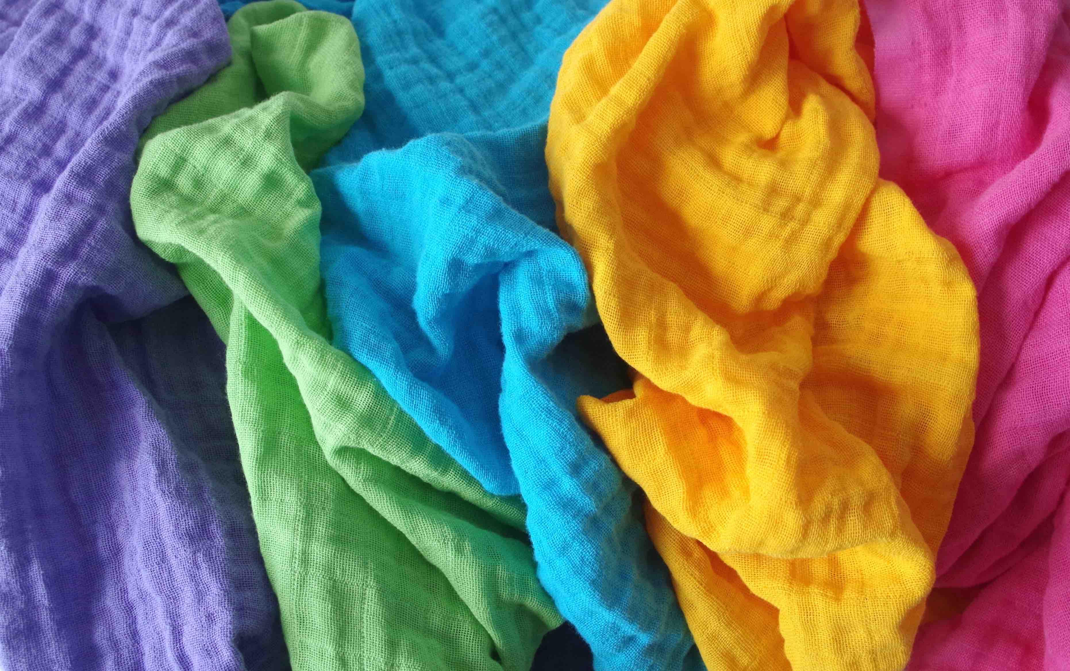 Langes colorés Violet Vert Bleu Jaune Rose Doudou
