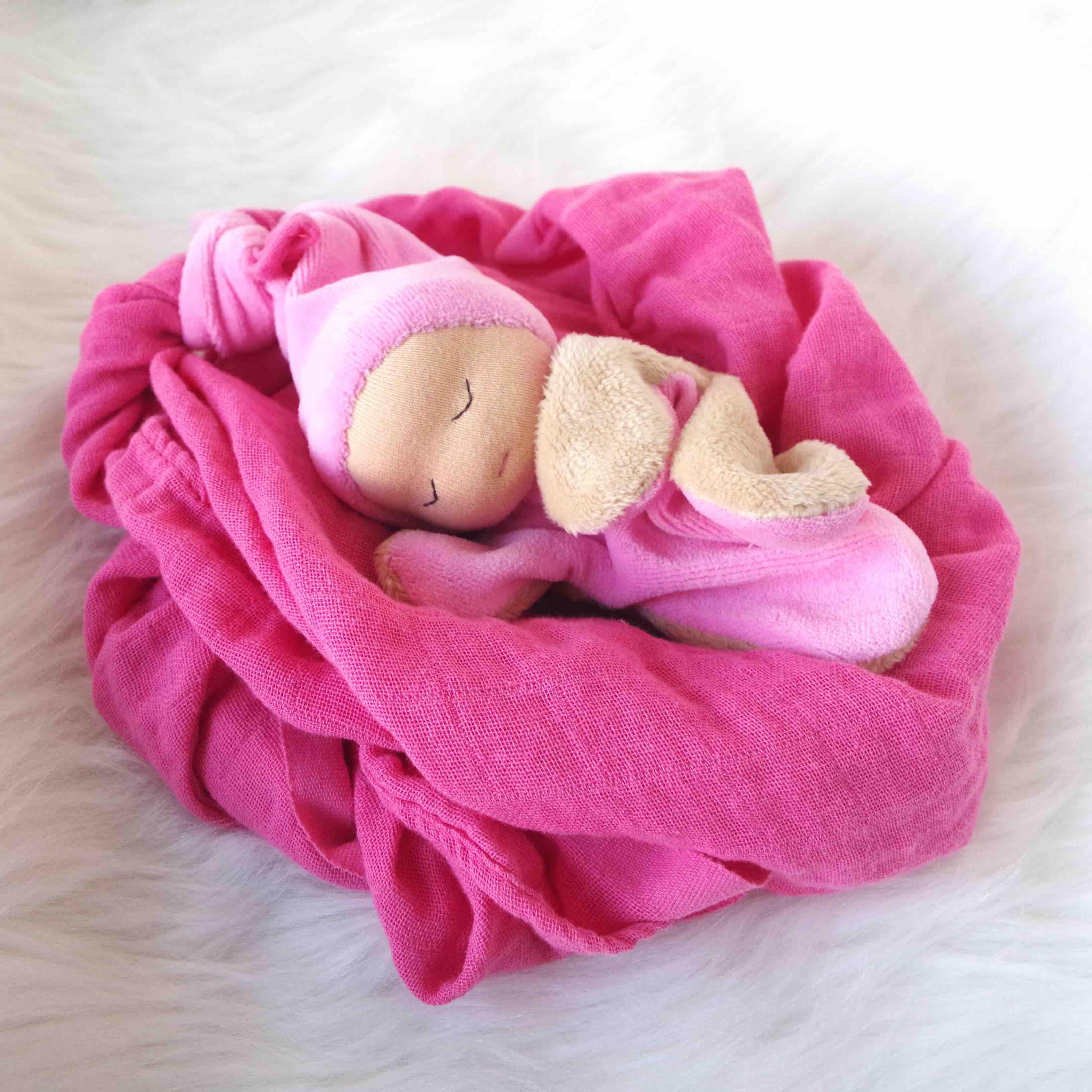 doudou lange poupinou rose cadeau de naissance createur normandie rouen normes ce fait main. Black Bedroom Furniture Sets. Home Design Ideas